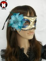 Light Blue & Gold Masquerade Mask