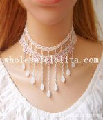 Handmade Gothic White Lace Flower Collar Choker Necklace with Pearl Pendant for Women