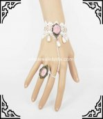 Retro White Lace Pink Rose Bride & Bridemate Bracelet & Ring
