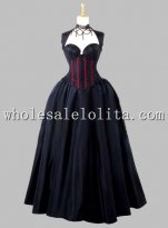 Gothic Black and Red Sleeveless Corset Top Thai Silk Victorian Prom Dress