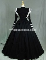19th Century Black Cotton Victorian Housekeeper Costume Period Dress Reenactment Theatre Clothing