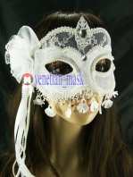 Noble White Transparent Lace Cloth Masquerade Mask & Nightclub & Carnival & Halloween Mask