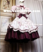 Fake Two-pieces Camellia Flower Printing Classic Lolita Dress