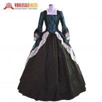 Marie Antoinette Colonial Brocade Period Dress Ball Gown Dark Masquerade Steampunk Costume