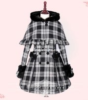 2014 Winter Black and Grey Tartan Lolita Coat with Detachable Cape