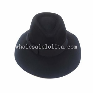 Hot Sale Paris Fashion Style Black Wool Unisex Fedora Hat