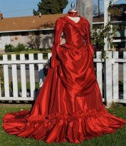 Mina Dracula Gothic Red Victorian Bustle Gown Wedding Halloween Costume Custom Made