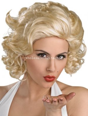 Movie Film Star Fancy Dress Costume Party Gold Marilyn Monroe Wig