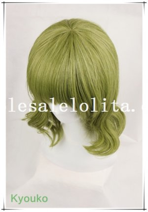 Heat Resistant Cosplay Short Green Curly Hair Full Wig