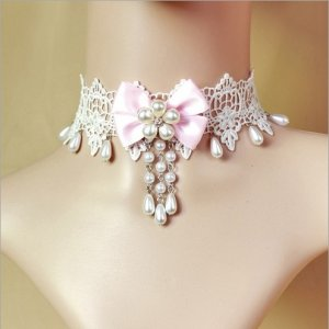 Gothic Bride White & Pink Lace & Pearl Necklace