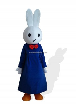 Adult Rabbit Halloween Costume in Blue Dress