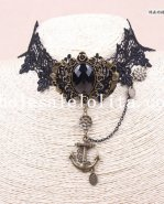 Hotsale Black Lace Gothic Anchor Pendant Collar Choker Chain Necklace