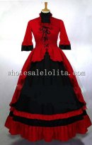 Gothic Red and Black Victorian Gown for Sale