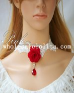 Fashion Bride/Bridesmaid Collar Choker White Necklace with Red Rose and Ruby Pendant