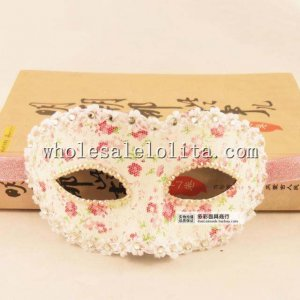 Hand Made Beaded Half Face Halloween Masquerade Mask with Floral Pattern