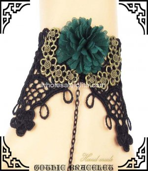 Gothic Retro Black Lace Green Flower Bracelet & Ring