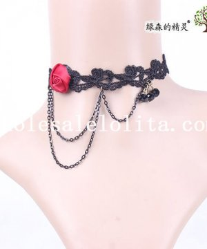 Women's Handmade Pendant Black Lace Collar Choker Necklace with Red Rose