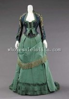 1870s French Culture Silk Early Victorian Bustle Afternoon Dress