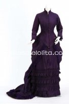 Deluxe Dark Purple Victorian 1870/90s Bustle Day Dress Gown Costume