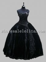Deluxe Black One Shoulder Sleeveless Victorian Ball Gown Venice Carnival Costume