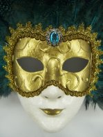 Golden & Black Feather Venetian Mask