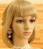 White Lace Crown Gothic Lolita Earrings EH-46