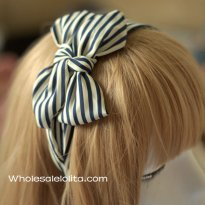 Double Bow Blue & White Stripes Wide Headband