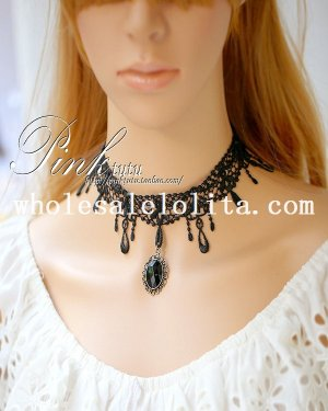 Gothic Elegant Black Lace Collar Choker Gem Pendant Necklace
