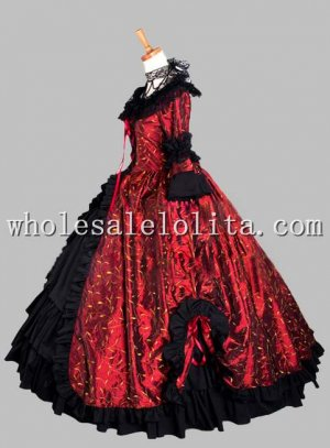 Gothic Black and Wine Red Print Victorian Themed Dress Vampire Halloween Masquerade Ball Gown Carnival Costume