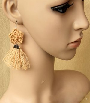 Gothic Orange Lace Lolita Earrings EH-08