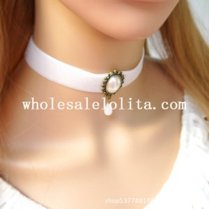 Fashion White Velvet Collar Choker Pearl Pendant Necklace for Wedding Accessory