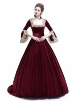 Wine Red Velvet Marie Antoinette Queen Theatrical Victorian Dress