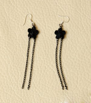 Gothic Black Flower Lace Lolita Earrings EH-62