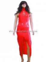 Sexy Red Lace Up High Collar Front Split Latex Long Dress