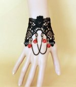 Gothic Black & Red Lace Ladies Bracelet