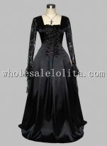 Gothic Black Lace Up Silk-like Victorian Era Dress with Lace Long Sleeves