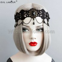 Black Gothic Gem Headband Masquerade Accessories