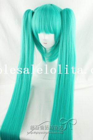 Heat Resistant Anime Cosplay Long Straight Green Hair Wig