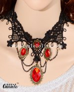 Gothic Vintage Black Lace Necklace with Ruby