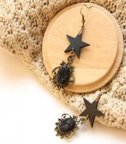 Black Five-pointed Star and Crystal Lolita Earrings EH-13