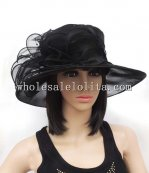 New Black Organza Big Brim Ladies Sun Hat