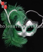 Budget Silver Half Face Masquerade Mask with Glitter Details and Green Feather