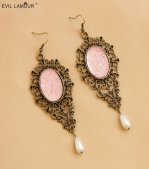 Gothic Pink Crystal Lolita Earrings EH-24