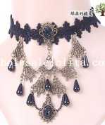 Elegant Vintage Gothic Collar Choker Black Lace Gem Pendant Necklace