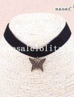 Black Velvet Collar Choker Hotsale Necklace with Butterfly Pendant