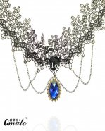 Sexy Fashion Black Lace Pendant Chain Necklace with Blue Gem