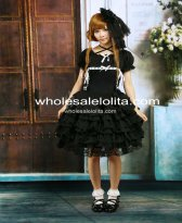 Cotton Black Short Sleeves Ruffles Lace Gothic Lolita Dress