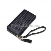 Manka Vesa big capacity ladies long purses high quality patent pu leather women wallets luxury double zipper day clutch Black
