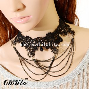 Black Charm Lace Chain Circled Pattern Necklace Pendant with Gem for Prom