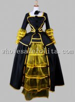 Historical Black and Gold Victorian Inspired Cosplay Costume Reenactment Clothing